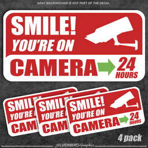 4 pack - Smile you're on camera - stickers security warning alarm window decal