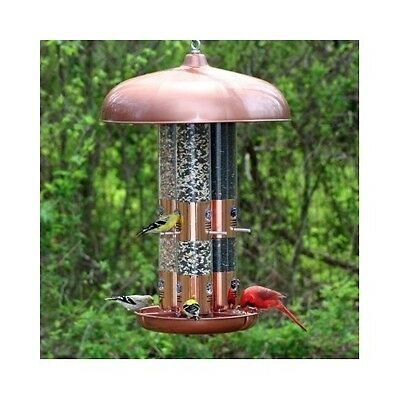 Bird Feeder Triple Tube Copper Finish 12 Feeding Seed Ports Outdoor Patio Large