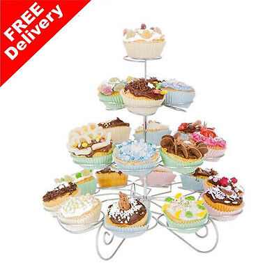 4 Tier 23 Cupcake Party Holder/Stand - Wedding Birthday Metal Display Muffin NEW