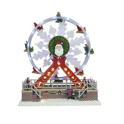"12"" LED Santa Ferris Wheel Christmas Musical Lighted Village Carnival Ride Decor"