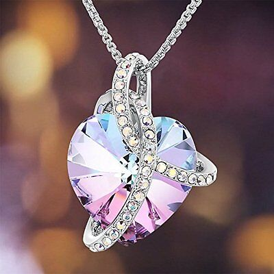 Jewelry Love Heart Pendant Necklace Chain Swarovski Crystal Women Fashion Gift