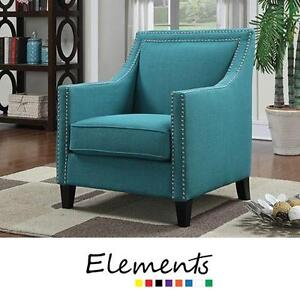 NEW* ELEMENTS ERICA ACCENT CHAIR - 127956071 - TEAL CONTEMPORARY ACCENTS CHAIRS SEAT SEATS SEATING NAILHEAD LIVING RO...