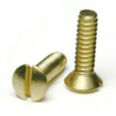 6-32 Brass Slotted Oval Head Machine Screws - Select Length Qty