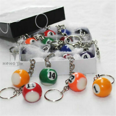 "16 Pcs 1""  25mm  Lot Pool Billiard Keyring Ball Keychain Key ring Set USA seller"