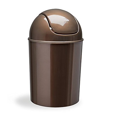 Umbra Mini Waste Can 1-1/2 Gallon with Swing Lid, Bronze