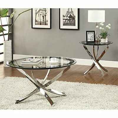 $120.43 - Coaster Home Furnishings Contemporary End Table Chrome Furniture Decor Glass New