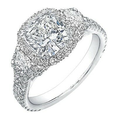 3.02 Ct 3-Stone Halo Cushion Cut & Trapezoid Diamond Engagement Ring G,VS2 GIA