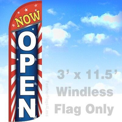 Now Open - Windless Swooper Feather Flag 3x11.5 Banner Sign - Starburst Rq
