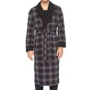 Merona Men's Grey Plaid Shawl Sleepwear Bath Robes - Size Small