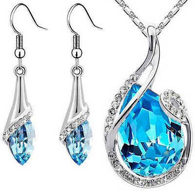Schmuckset Swarovski® Kristall Blau Silber Halskette und Ohrringe Geschenk Set