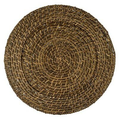 Round Rattan Chargers - Brown - set of 4