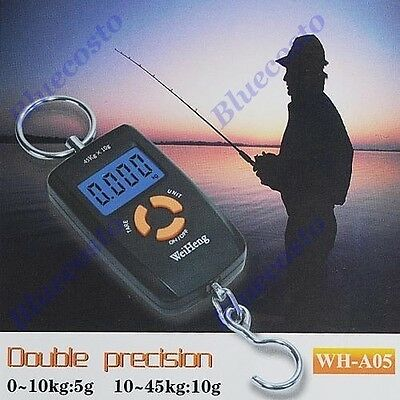 Precision 45Kg x 10g LCD Digital Fishing Hanging Luggage Weighing Hook Scale NEW