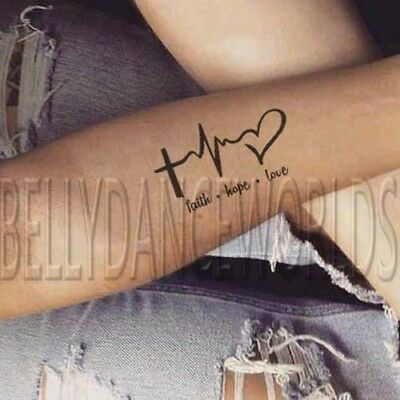 Tattoos Of Love (1 SET of 2 Faith Hope Love EKG symbol inner forearm temporary tattoo)