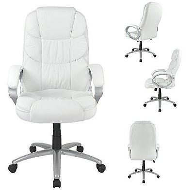 White High Back Leather Executive Office Desk Task Computer Chair Metal Base O10