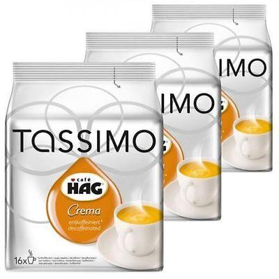 TASSIMO CAFE HAG CREMA DECAFFEINATED T-DISCS 3 x 16 = 48 PACKS COFFEE PODS