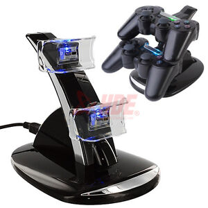 NEW LED Dual Controller Charger Dock Station Stand Charging for Playstation PS3