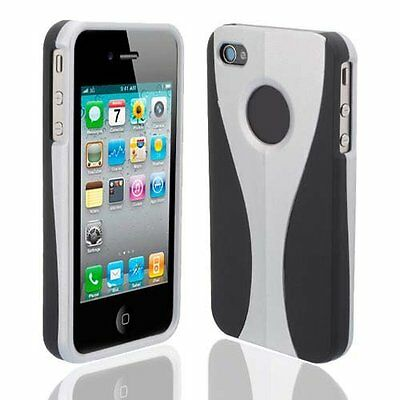 Silver / Black Cup-shape Snap-on Rubber Coated Case for Apple iPhone 4/4S (Black Rubberized Coating Snap)