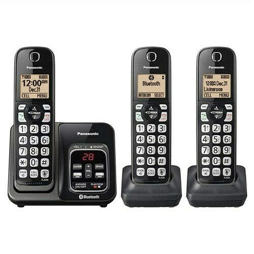Panasonic KX-TG833SK 3 Handset Cordless Phone Link2Cell Voice Assist (B-Stock)