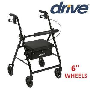 NEW DRIVE MEDICAL ROLLATOR r726bk 244725488 With 6 Wheels Fold Up Removable Back Support and Padded Seat