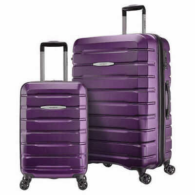 "Samsonite two piece luggage set w/ a 27"" Spinner suitcase & 21"" carry on purple"