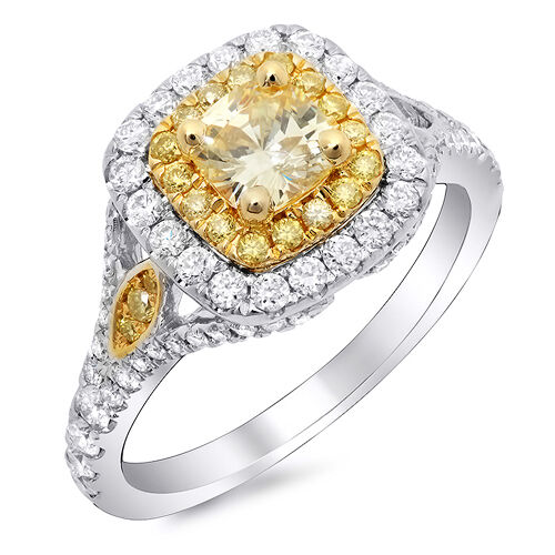 New 1.88 Ct Canary Fancy Yellow Cushion Cut Diamond Engagement Ring GIA SI2 14K