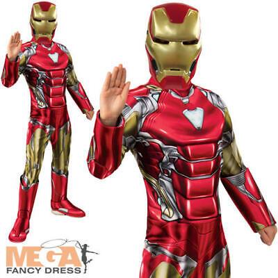 Deluxe Iron Man Boys Fancy Dress Avengers Endgame Superhero Kids Costume Outfit (Ironman Kid Kostüme)