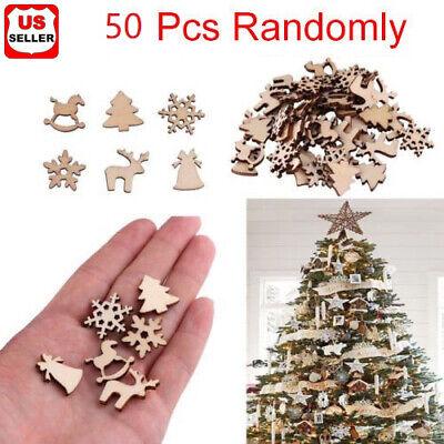 50Pcs DIY Craft Christmas Xmas Wood Chip Pendant Hanging Ornaments  Decor Home-2 Holiday & Seasonal Décor