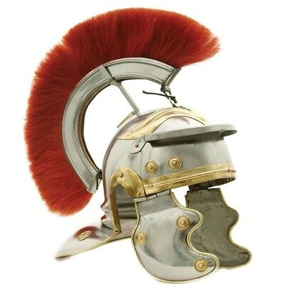 Roman Legion Officer Helmet with Red Plume Armor Gladiator Costume LARP