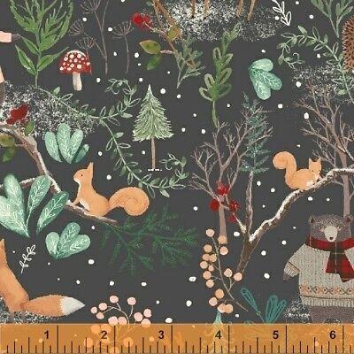 Winter Fabric - Walk in the Woods Woodland Animal Scene Gray - Windham YARD