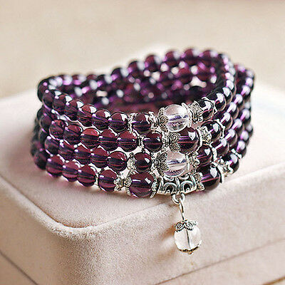 Crystal Stone Buddhist Amethyst 108 Prayer Beads Mala Bracelet Necklace Luxury