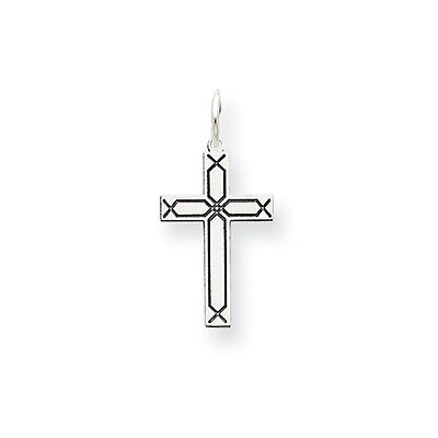 14K White Gold Laser Etched Design Latin Cross Charm Pendant   0.91 - Design Gold Laser Charm