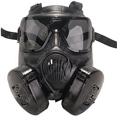 Airsoft M50 Gas Mask Double Filter Fan CS Edition Perspiration Dust Face Guard for sale  Shipping to United States