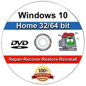 Windows 10 64/32 Bit Install Reinstall  Recovery Repair DVD