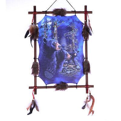 """22""""x16"""" HIdden Black Bears Dream Catcher Wall Hang Decor Feathers Wood Frame"""