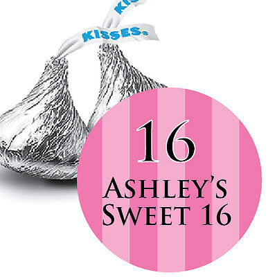 108 Sweet 16 Hot Pink Personalized Hershey Kiss Stickers Party Favors - Hot Pink Party Supplies