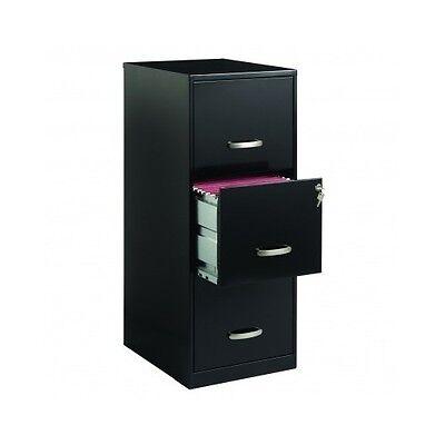Black File Cabinet Filing Home Office Steel 3 Drawer Case Metal Locking Storage