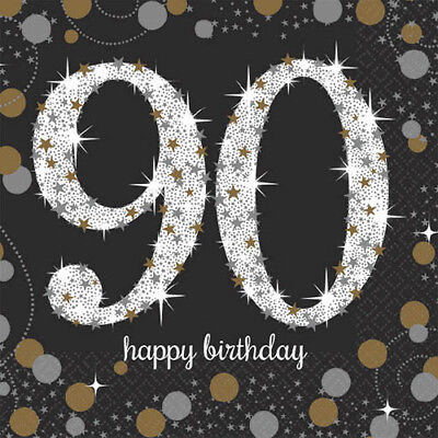 SPARKLING CELEBRATION 90th BIRTHDAY SMALL NAPKINS (16) ~ Party Supplies Dessert - 90th Birthday Party