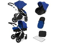 Ickle Bubba Stomp v2 Blue Travel System Pram,Carrycot,CarSeat-good used condition,offers considered