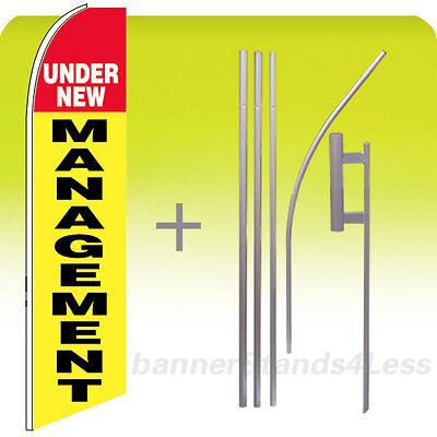 Under New Management Swooper Flag 15 Kit Feather Flutter Banner Sign - Yb
