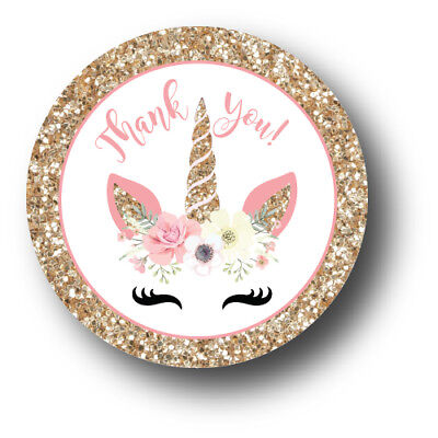 30 Unicorn Face Thank You  Birthday Party Favors Treat Bag Stickers
