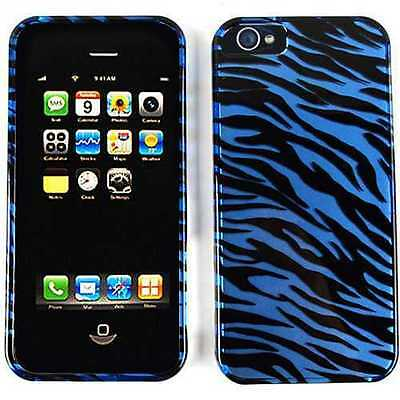 Zebra Faceplate Case (Blue Zebra Faceplate Apple iPhone 5 5S SE Faceplate Protector Hard Case Cover )