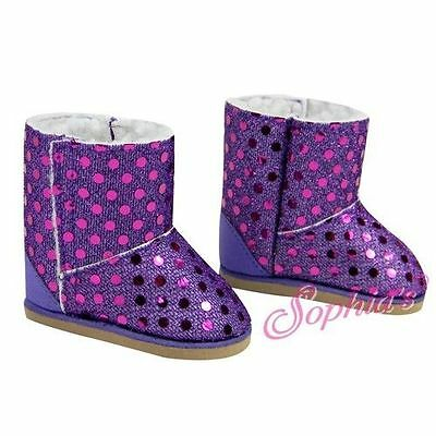 Purple Sequin Ewe Boots with Lining Doll Clothes Made For 18