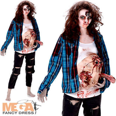 Deluxe Pregnant Zombie Baby Hands Ladies Fancy Dress Halloween Womens Costume