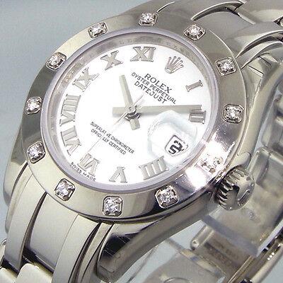 UNWORN ROLEX PEARLMASTER 80319 WHITE GOLD MASTERPIECE 12 DIAMOND WHITE ROMAN