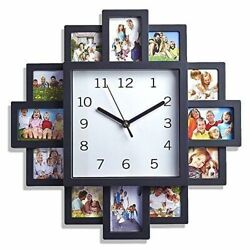 NEW FAMILY LOVE PICTURE WALL CLOCK 12 PHOTO ART MODERN APERTURE FRAME HOME DECOR