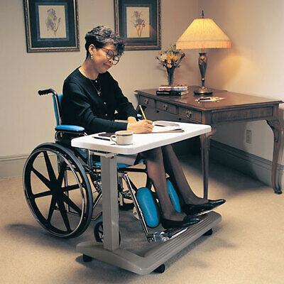 Rolling Bed Table Adjustable Height Medical Desk Home Hospital Eating Overbed