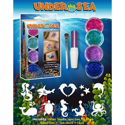 Under The Sea Tattoos (Temporary Tattoo & Glitter Body Art kit UNDER THE SEA - Glitter Tattoo)