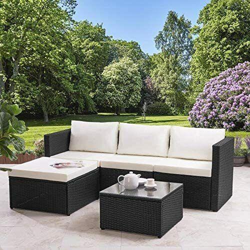 Garden Furniture - MODERN RATTAN GARDEN FURNITURE SOFA SET LOUNGER 4 SEATER OUTDOOR PATIO FURNITURE