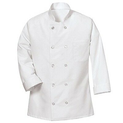 Brand New White Chef Coat 8 Plastic Buttons With Free Red Bib Apron Size Xs-4xl