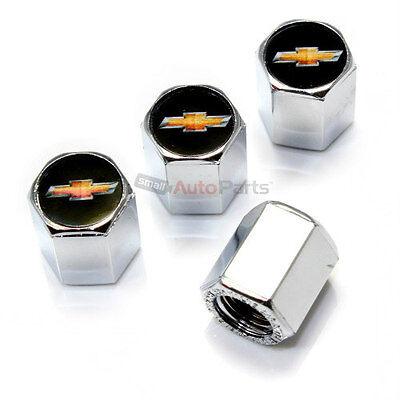 4 Chevy New Gold Bowtie Logo Chrome ABS Tire/Wheel Stem Air Valve Car Truck Caps